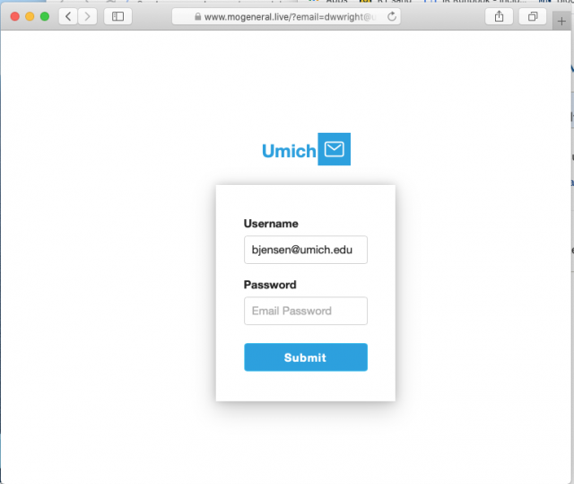 Image of a fake login page. Always check the URL before logging in.