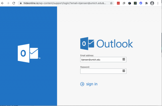 A fake Outlook login page is presented by the link in the phishing email. You can determine it is a fake by the incorrect URL.