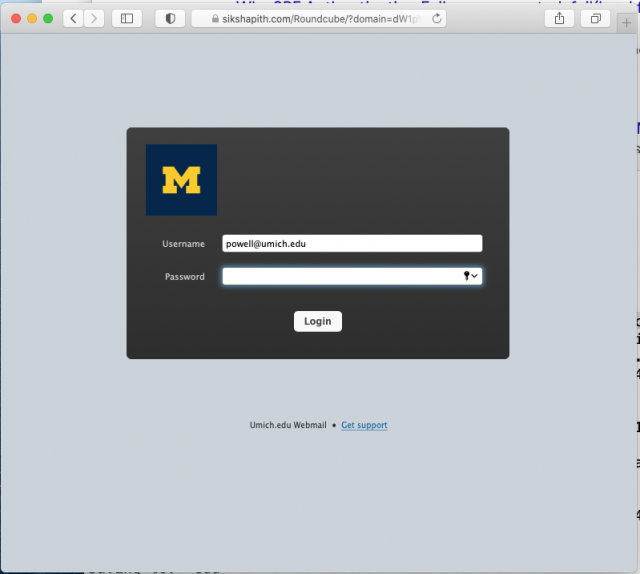 Screen shot of fake login screen. Remember to check the URL before entering your U-M credentials on any page.