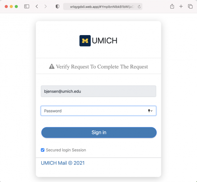 Image of a fake login page. Always check the URL before entering your credentials.