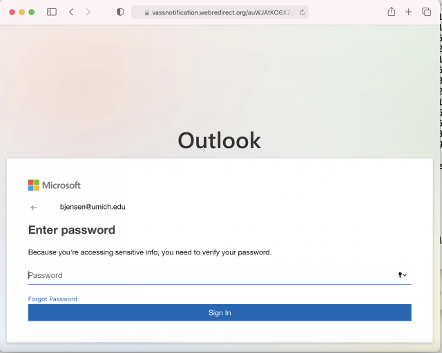 Links in the phishing email lead to a fake login site. Always check the URL of a site before logging in.
