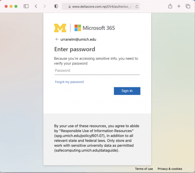 Image of the fake login site linked in the phishing email. Always check the URL of a site before logging with your U-M credentials.