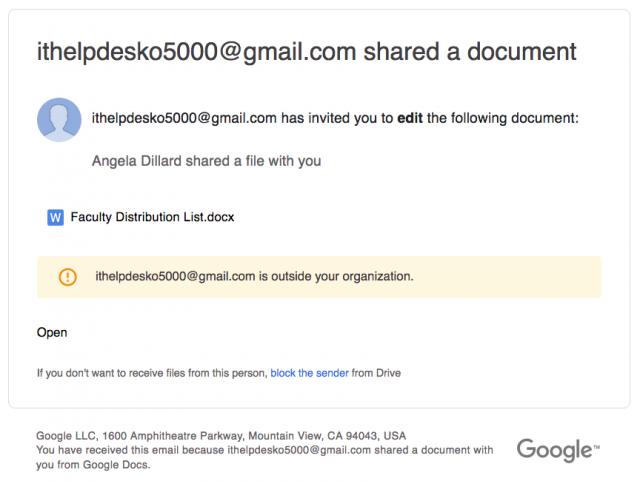 Screen shot of the phishing email.