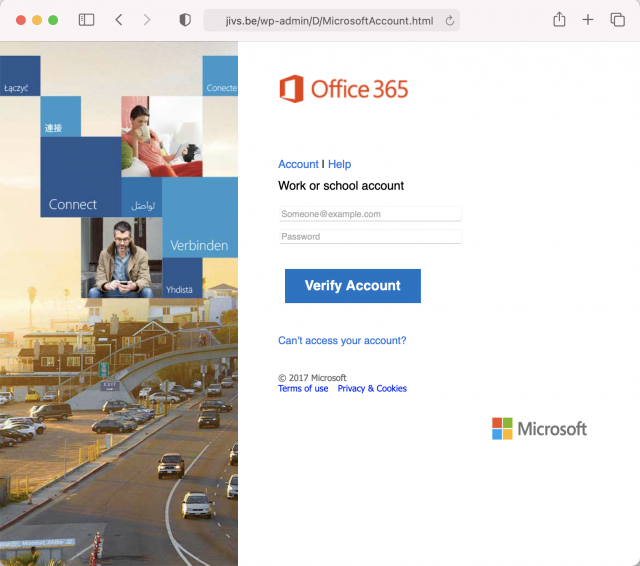 Screen shot of the fake Microsoft 365 login site. Always check the URL before logging in to any site.