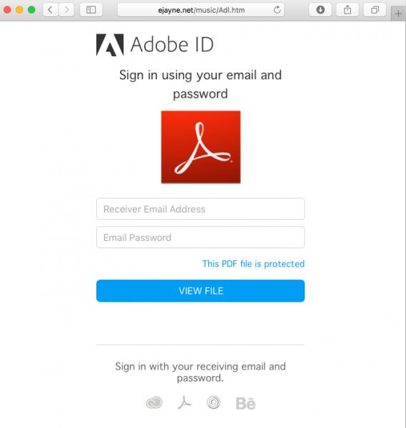 Image of fake Adobe login page.