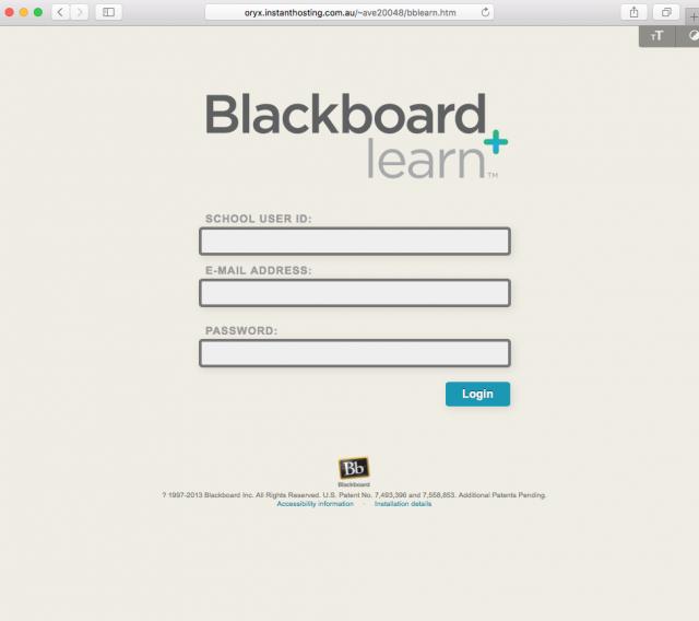 fake Blackboard login page image