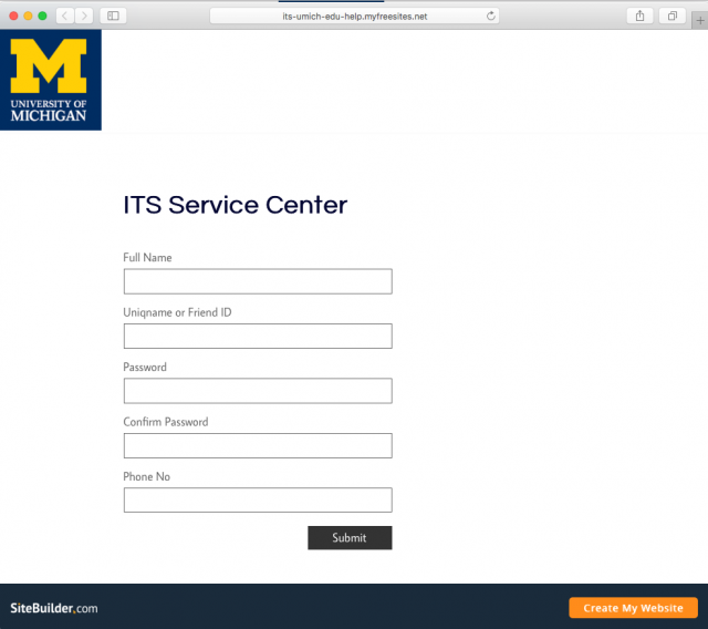 Fake U-M Login page is shown in message.