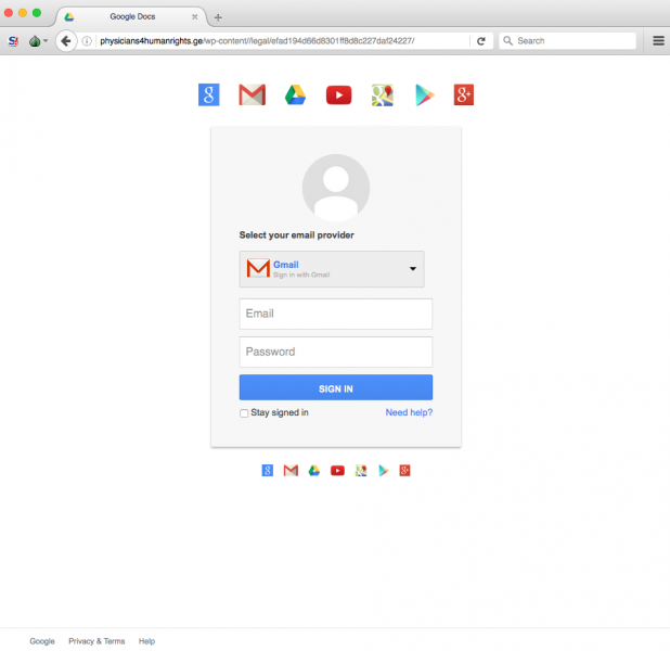 Fake Google login page is presented by link.