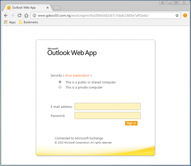 Fake login page is presented by the link.