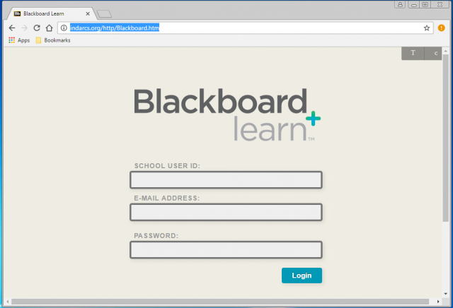 A fake Blackboard login is presented by the link.