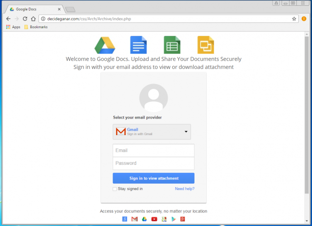 A fake Google login page is presented by the link.