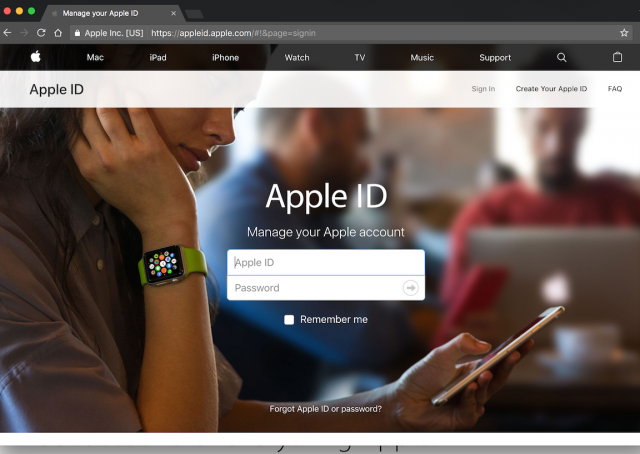 A fake Apple login page is presented by the link.