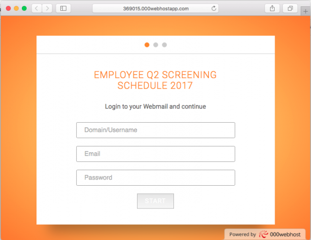 A fake login screen is presented by the link.
