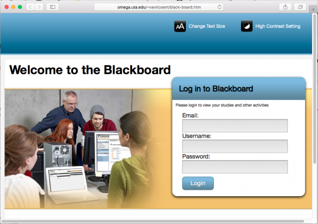 A fake blackboard login page is presented by the link.