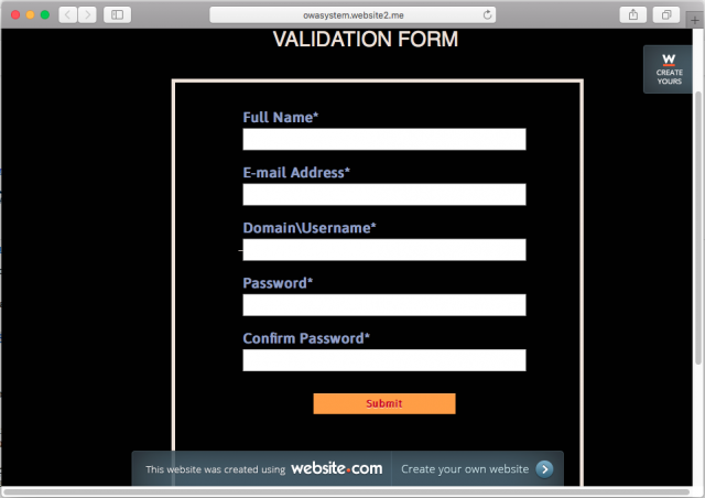 A fake validation form is presented by the link in the email.