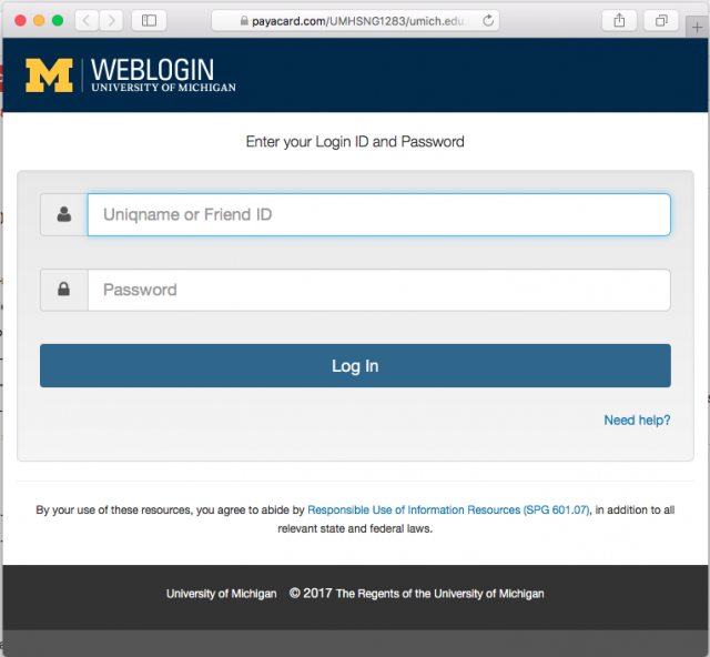 A fake University of Michigan login page is presented by the link in the email.