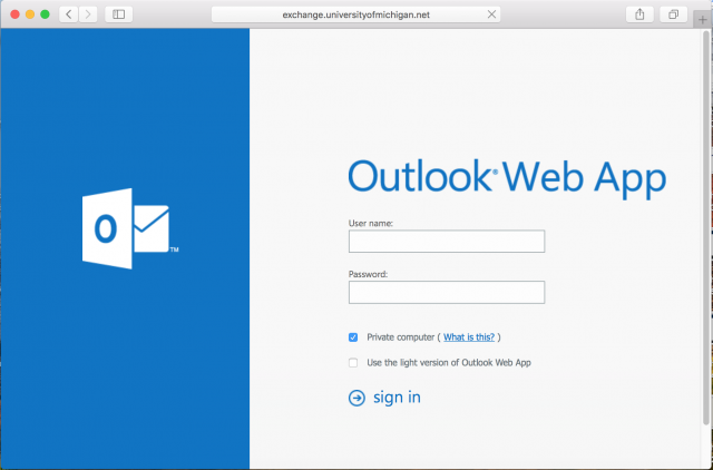 A fake Outlook web login is presented by the link in the email.
