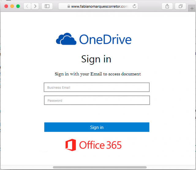 A fake OneDrive sign in page is presented by the links in the phishing email.