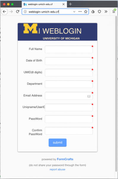 A fake login page with imitation U-M branding is presented by the link. The URL of the fake is not the real U-M weblogin URL.