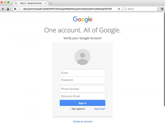 Image of fake U-M login page