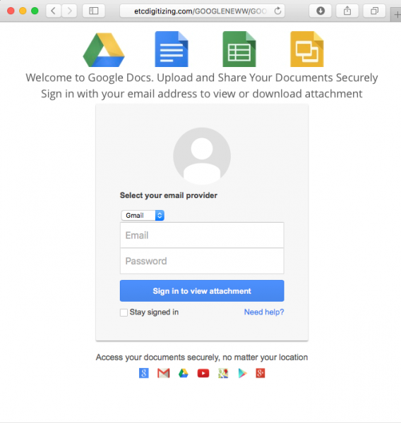 Fake Google login page is presented in the message.