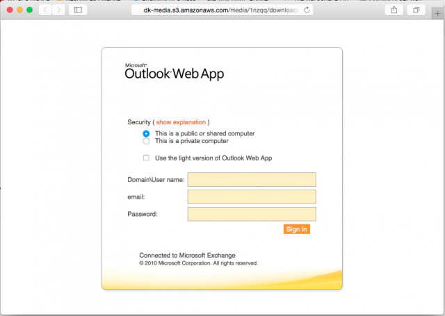 Fake Outlook login page is presented by link.
