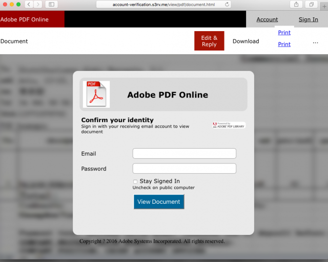 A fake Adobe login page is presented by the link.