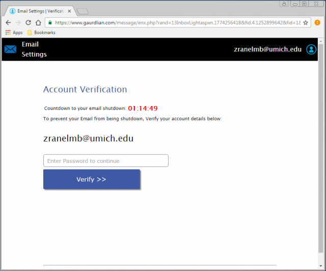 A fake verification page is presented by the link.