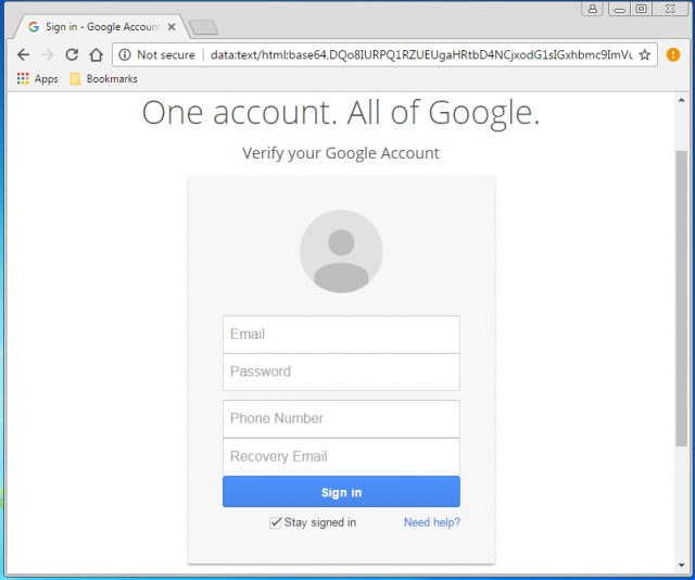 A fake Google login screen is presented by the link.