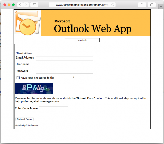 A fake Outlook Web App login is presented by the link.