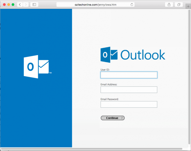 A fake Outlook login page is presented by the link.