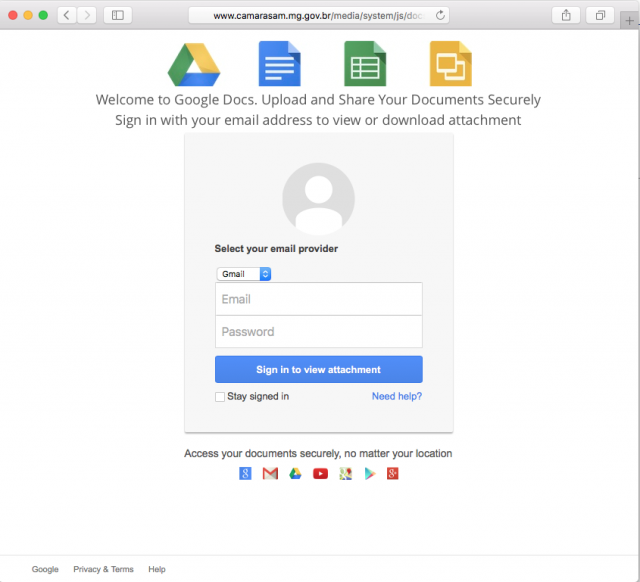 A fake Google docs login page is presented by the link in the email.