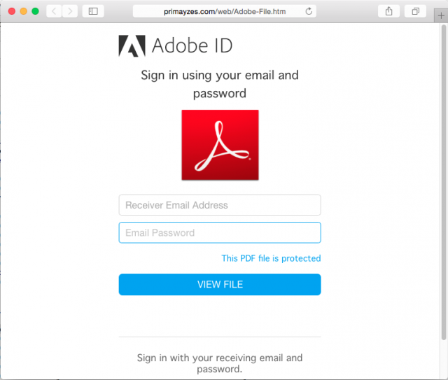 Fake Adobe login page is presented by link.
