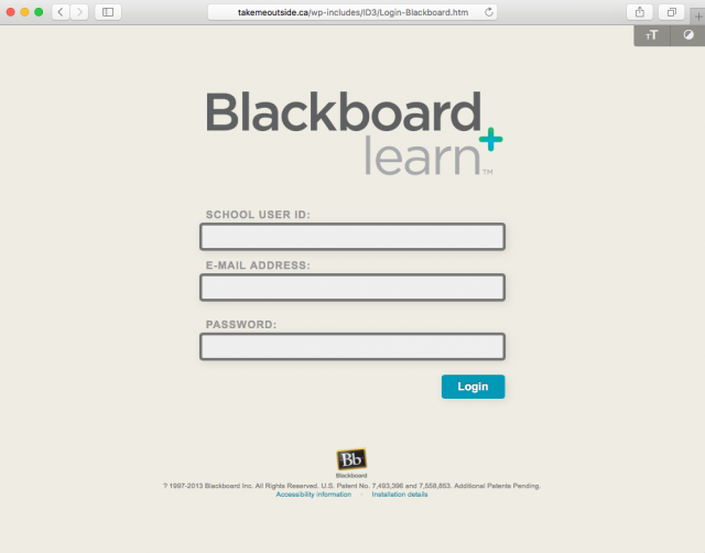 Fake Blackboard login is presented by the link.
