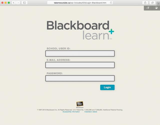 Fake Blackboard login is presented by the link.