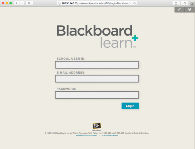 Fake Blackboard login presented by the link.
