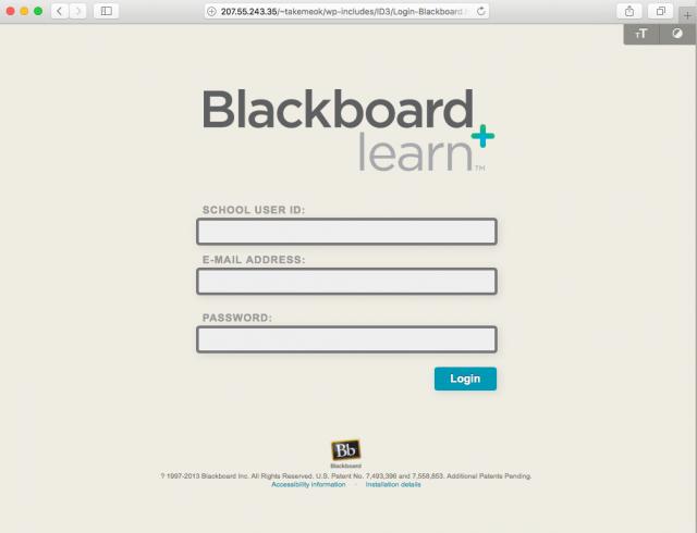 Fake Blackboard login presented by the link.