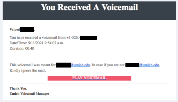 Image of the phishing email. Text version is also included above.