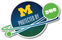 Duo sticker of planet U-M circled and protected by planet Duo