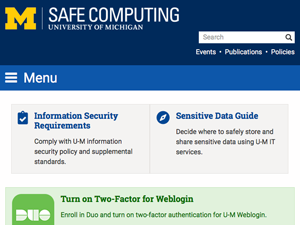 Screen capture of Safe Computing website home page