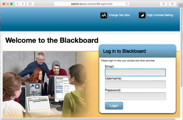 Screenshot of phishing site