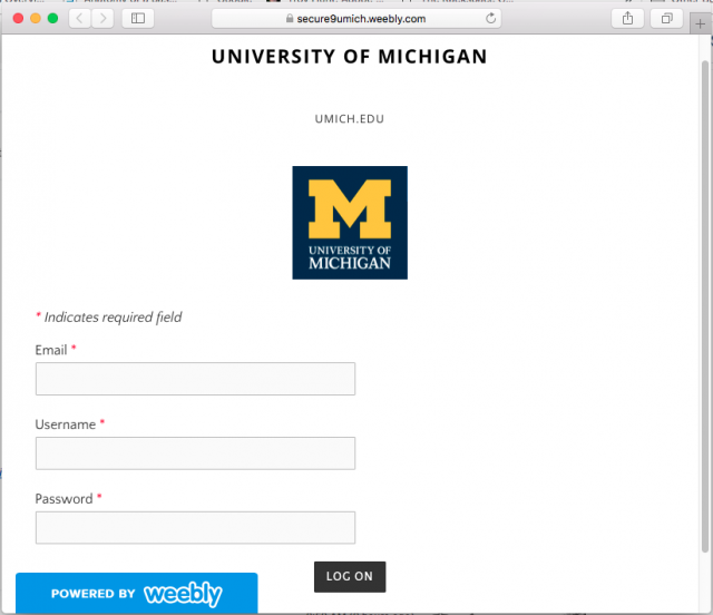 Fraudulent U-M login screen