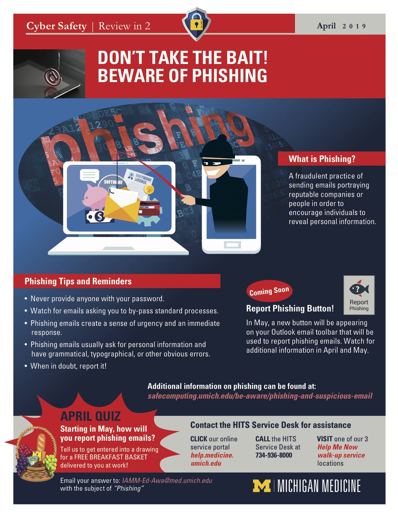 Phishing education Review in 2 poster from Michigan Medicine.