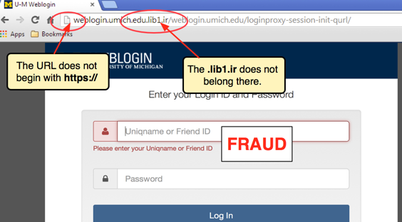 screenshot of fake login page