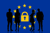Sillouette of four people in front of a circle of stars and a padlock